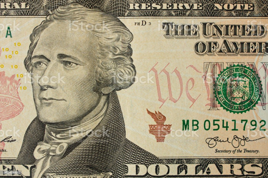 10 ドル紙幣にアレクサンダー ハミルトンの肖像画クローズ アップ ...