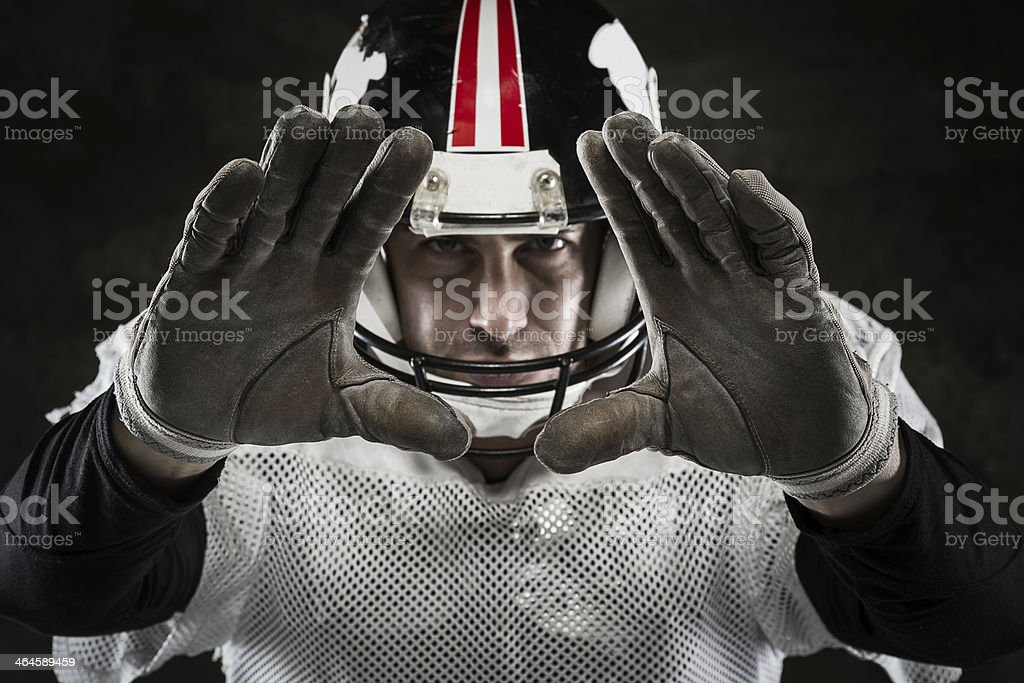 Portrait of american football player stock photo