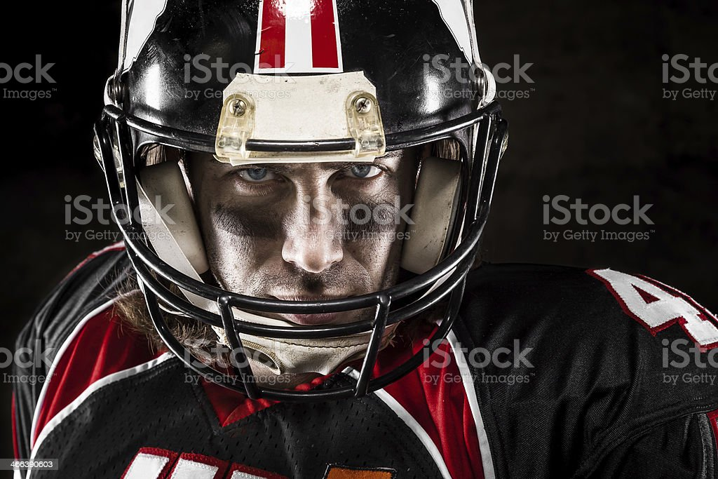 Portrait of american football player stock photo