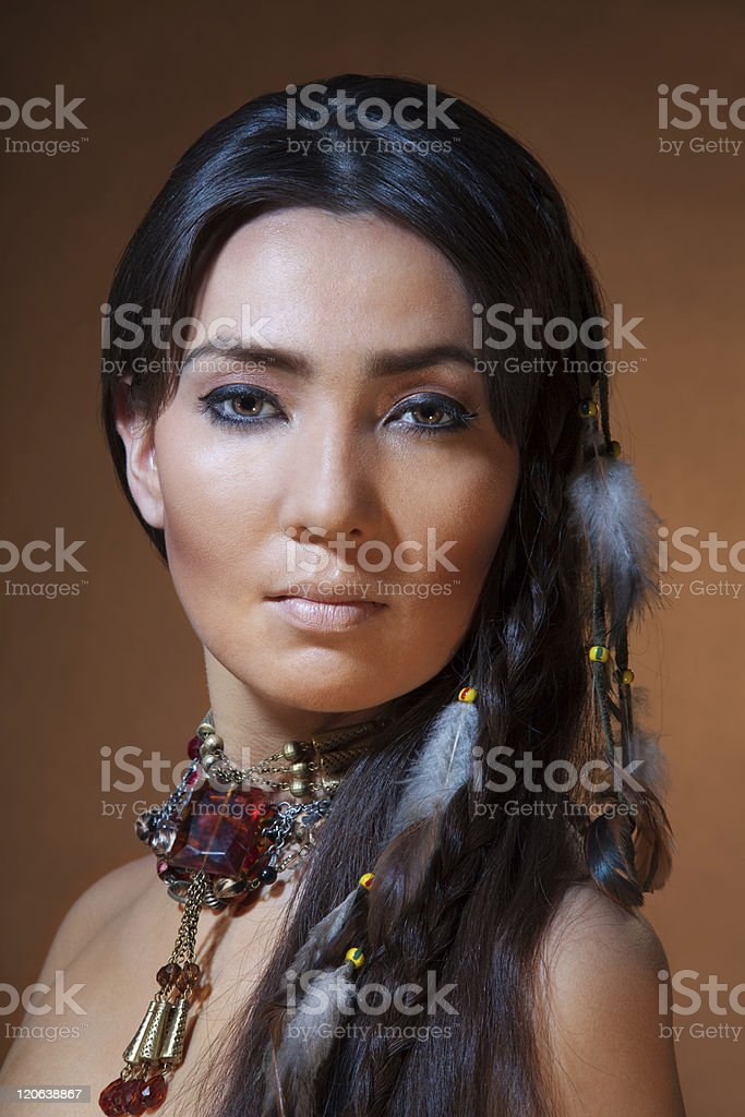 portrait of American Indian woman stock photo