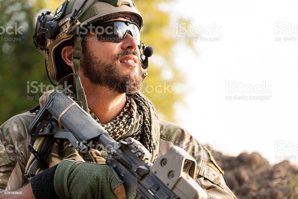 Porträt der amerikanischen Soldaten Wegsehen – Foto