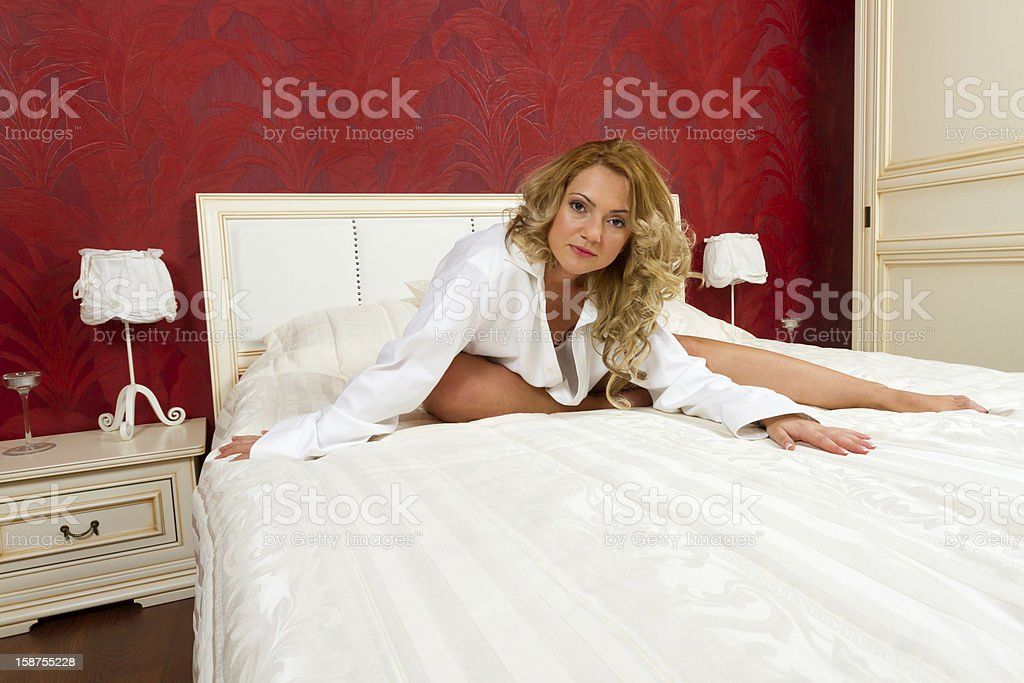 Portrait Of An Adorable Woman In The Bedroom royalty-free stock photo