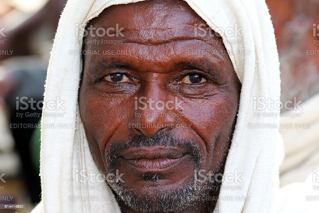 Portrait of an Afar Farmer in Ethiopia stock photo