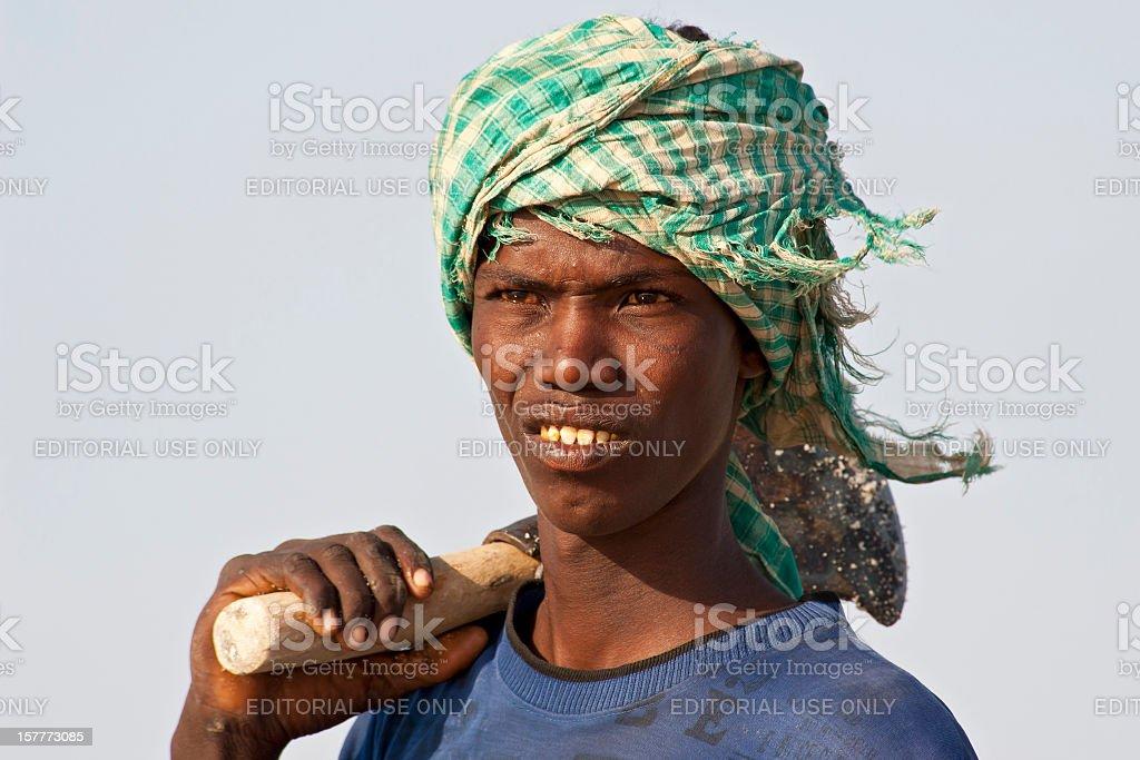 Portrait of an Afar salt worker, Danakil Desert, Ethiopia stock photo