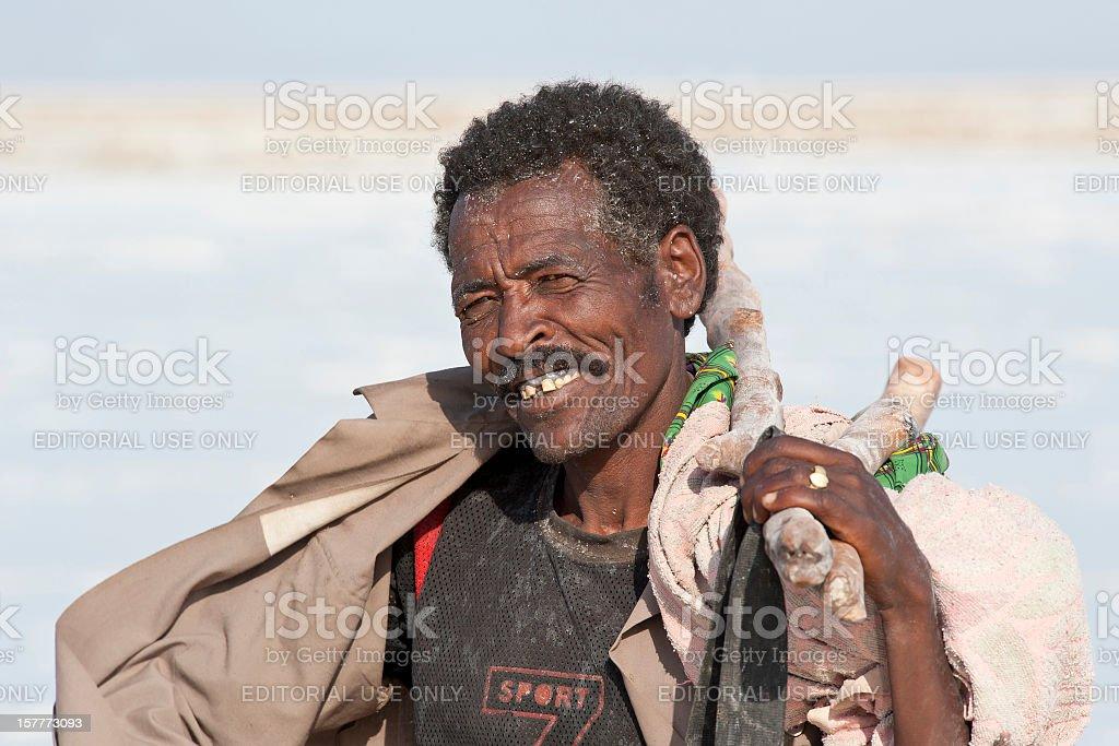 Portrait of an Afar salt worker, Danakil Desert, Ethiopia royalty-free stock photo