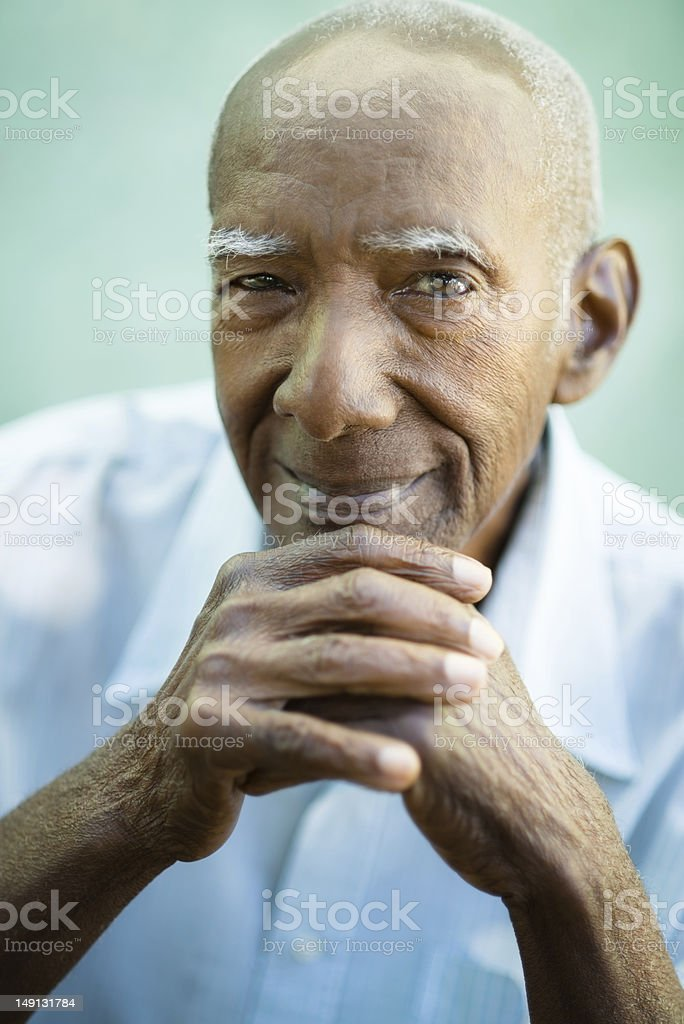 A portrait of an African American man smiling stock photo