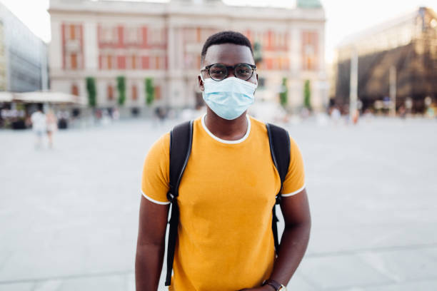 Portrait of an African American student in the city stock photo