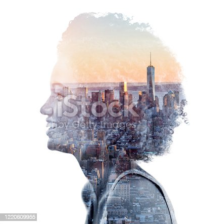 Montage with a portrait of an African American woman from New York City looking very happy