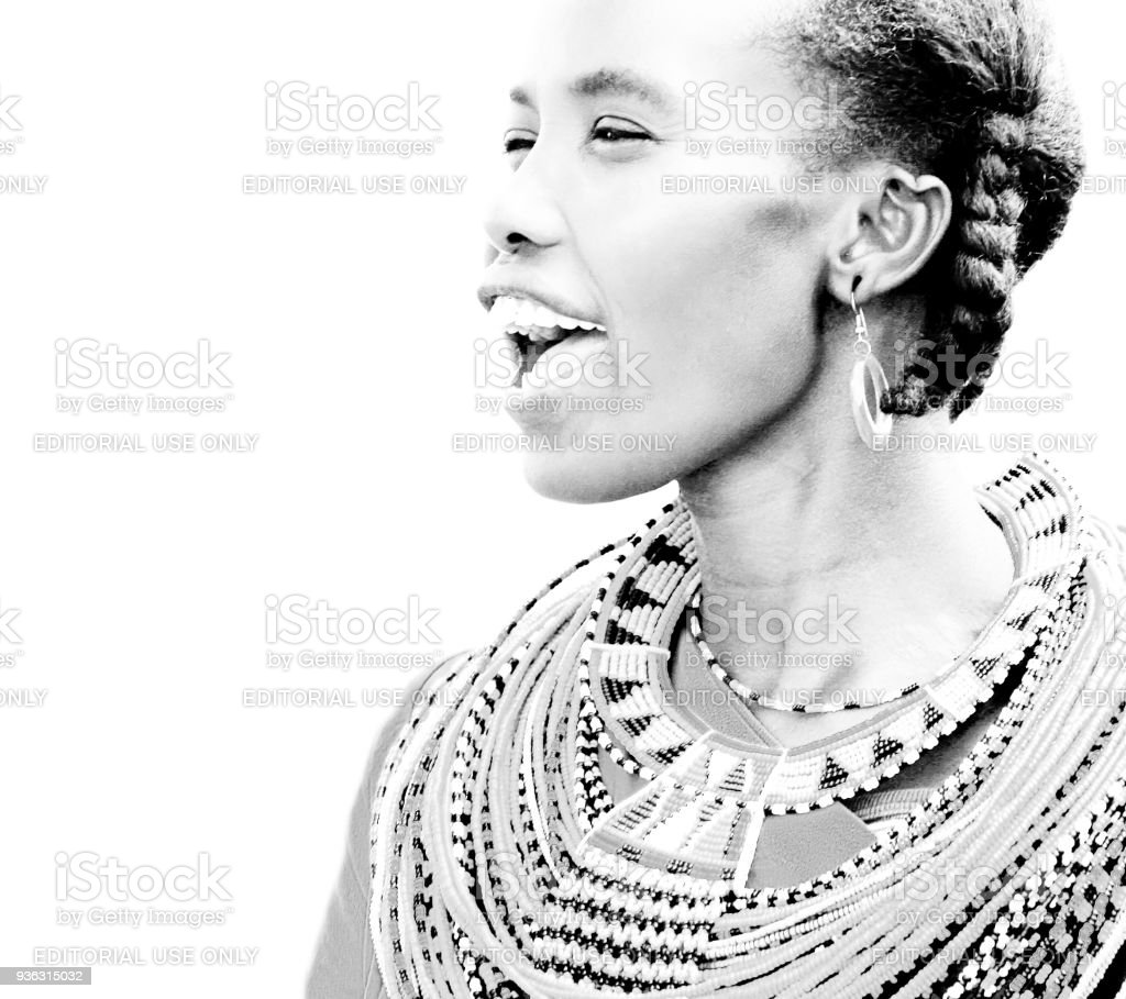 Portrait of an African woman that dressed traditionally stock photo
