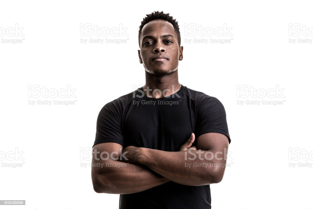 Portrait of an afro athletic man stock photo