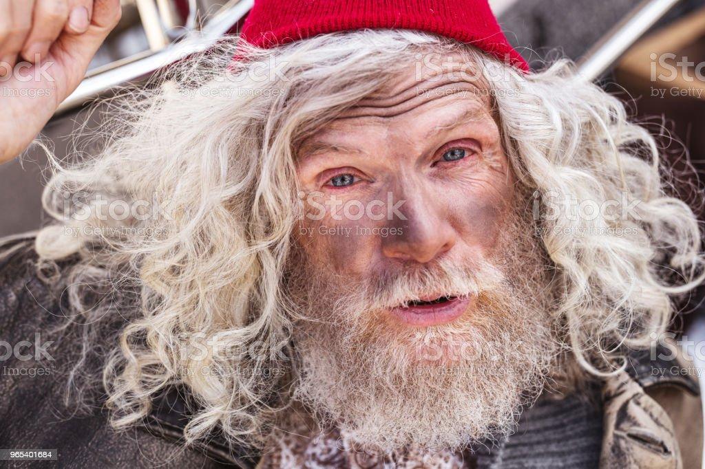 Portrait of an aged homeless man zbiór zdjęć royalty-free