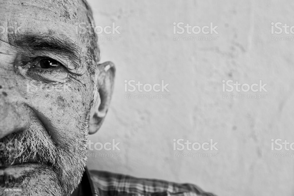 Portrait of an Alzheimer's Patient, Close-up stock photo