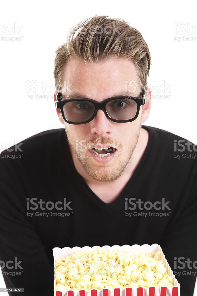 Portrait of an amazed man in 3D-glasses royalty-free stock photo