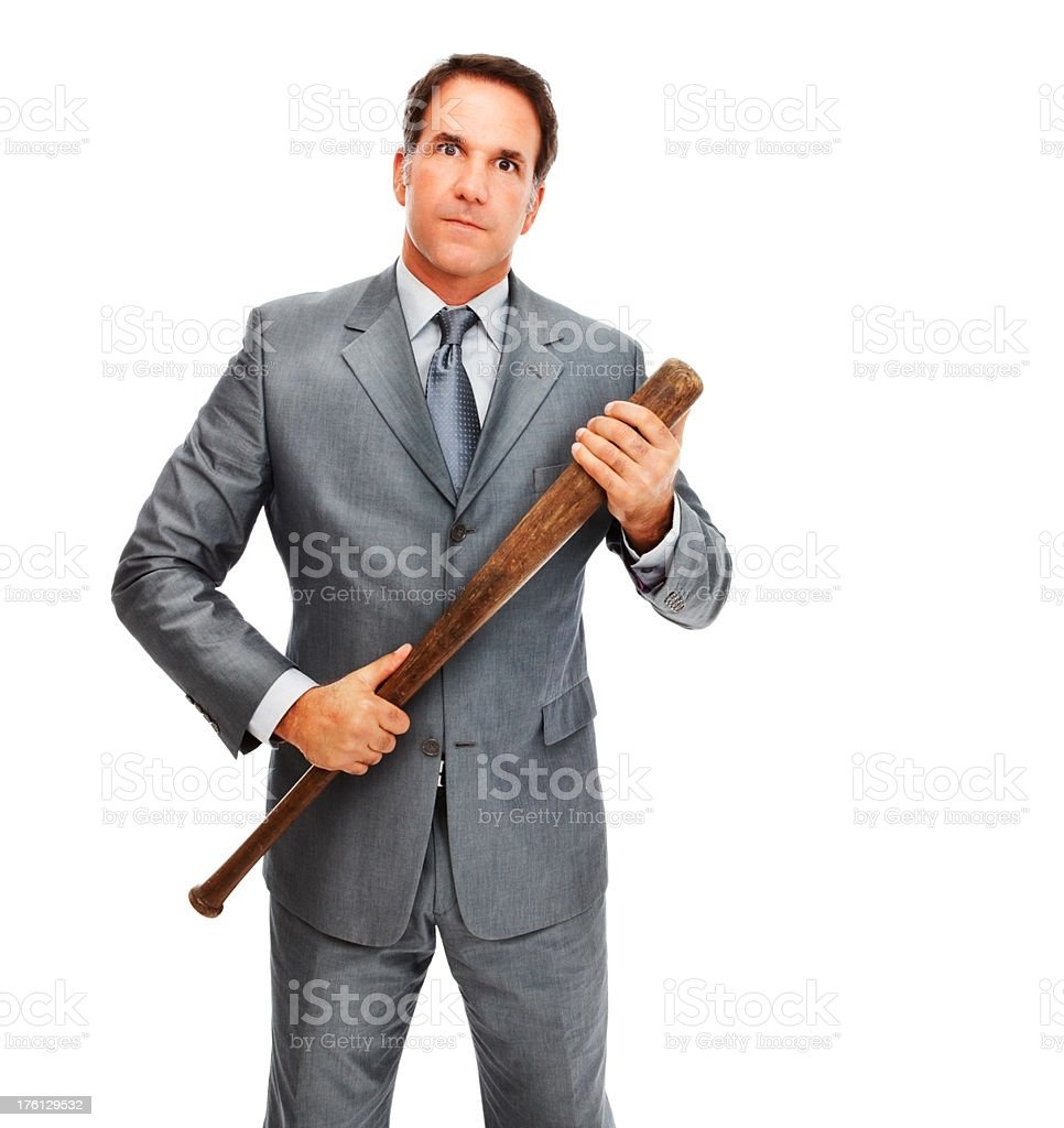 Portrait of an angry businessman holding a baseball bat royalty-free stock photo