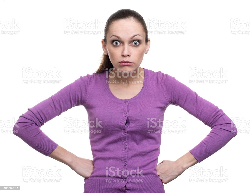 Portrait of an angry woman stock photo