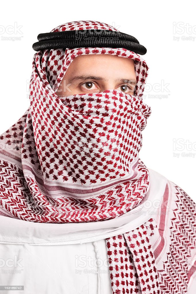 Portrait of an Arab person wearing a turban stock photo