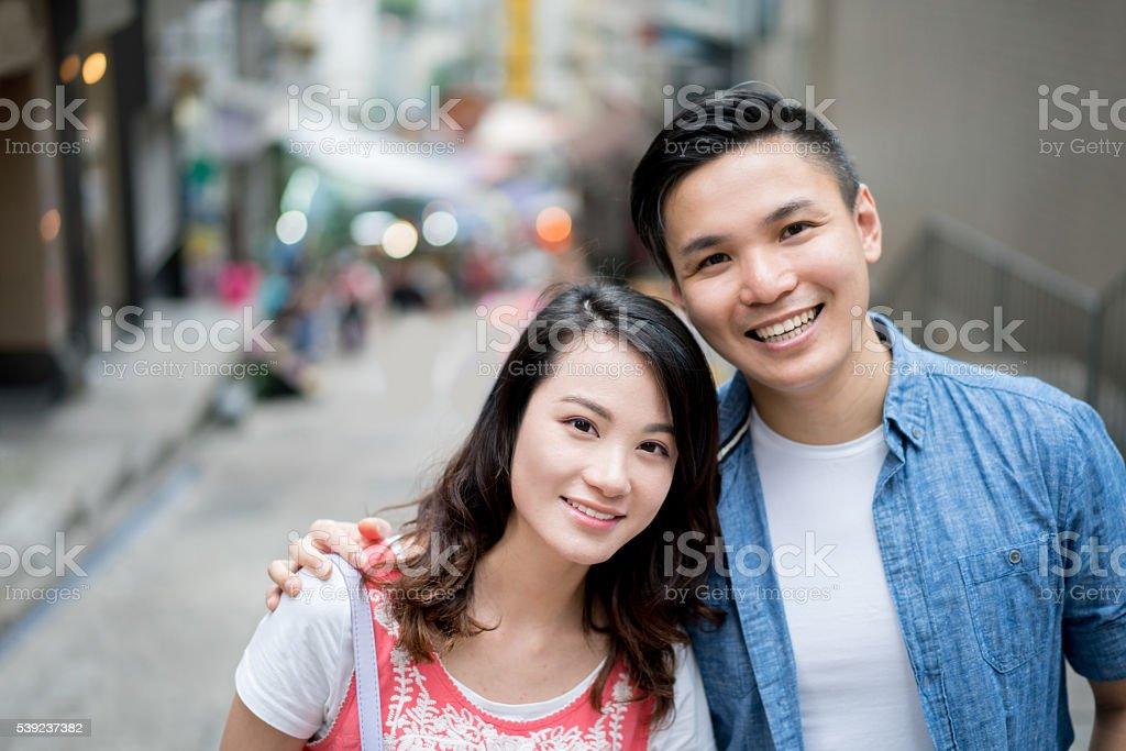 Portrait of an Asian couple smiling foto de stock libre de derechos