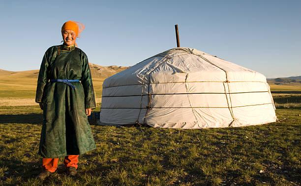nomadischen mongolische frau vor jurte - rawpixel stock-fotos und bilder