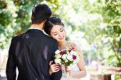 アジア結婚式カップルの肖像画