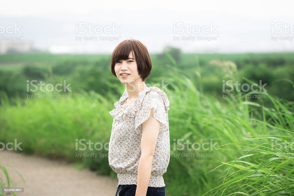 Portrait of an Asian woman in the countryside ストックフォト