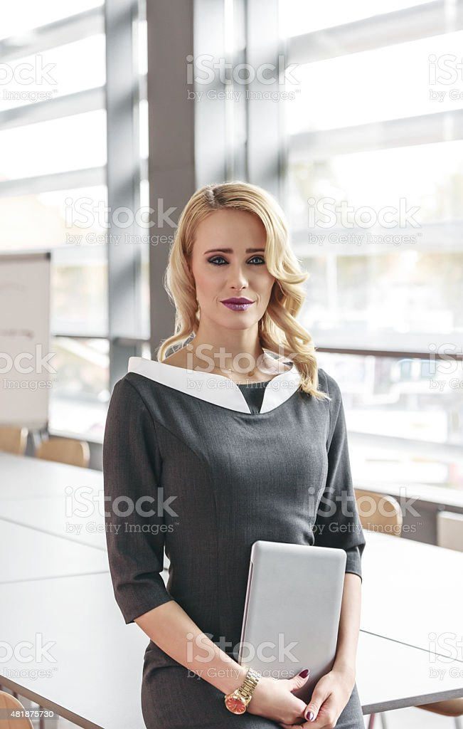 Portrait of an attractive businesswoman holding a digital tablet Portrait of beautiful blonde young businesswoman wearing grey dress sitting in a borad room in an office and holding a digital tablet, looking at camera. 2015 Stock Photo