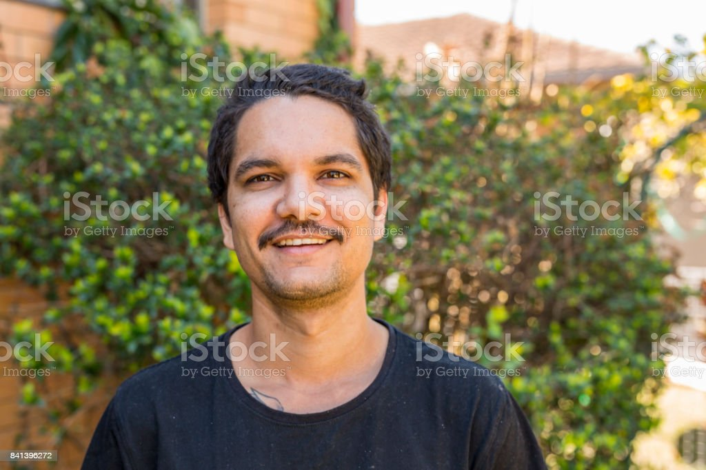 Portrait of an Australian Aboriginal Young Man stock photo