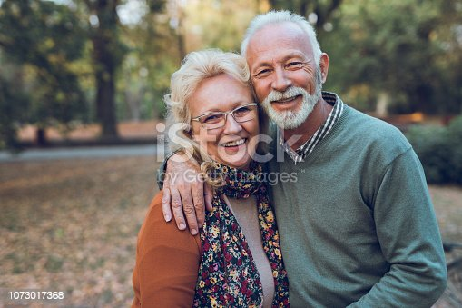 Portrait of an elderly couple in the park