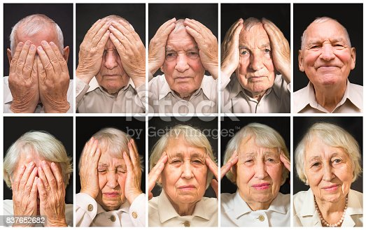 875123630istockphoto Portrait of an elderly man and woman with face closed by hands 837652682