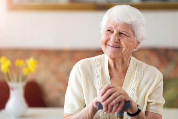 portrait of an elderly woman - fragility stock pictures, royalty-free photos & images