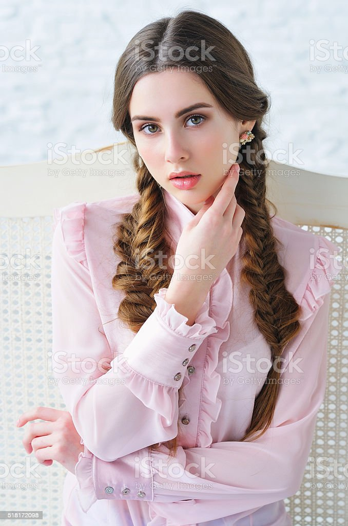 Portrait of an elegant young girl stock photo