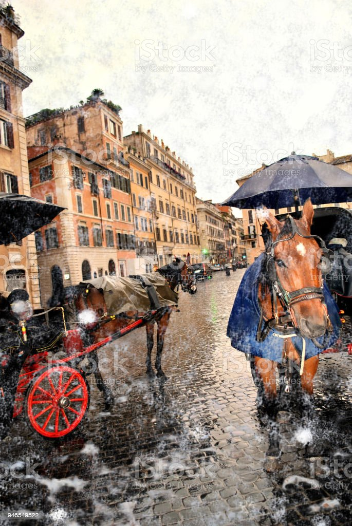 Portrait of an elite horse in a tourist coach in snow-covered Rome. stock photo