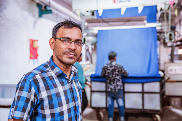 Portrait of an Indian Factory Supervisor stock photo