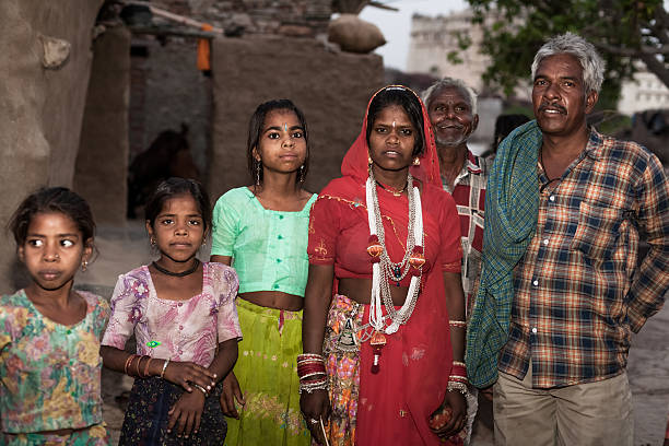 Portrait of an Indian family in Rajasthan stock photo