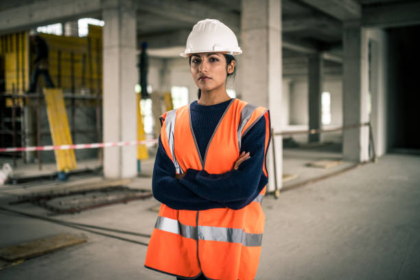 Portrait of an Indian female construction foreman