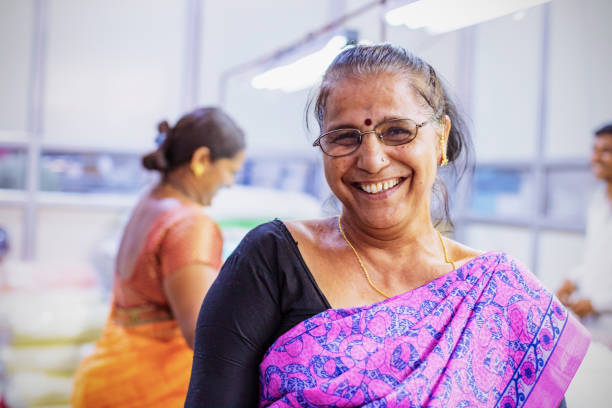 Portrait of an Indian Female Factory Worker stock photo
