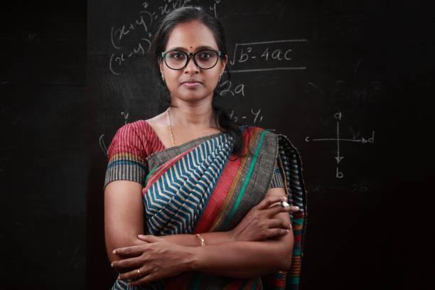 Portrait of an Indian lady teacher stock photo