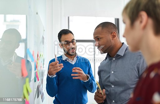 Multi-ethnic group hipster trendy business people with Indian boss discussing during a brainstorm session for their small company