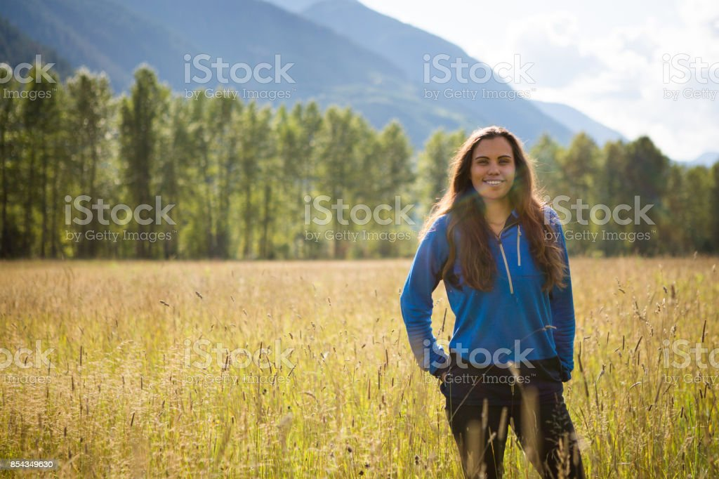 Portrait of an Indigenous Canadian in the field stock photo