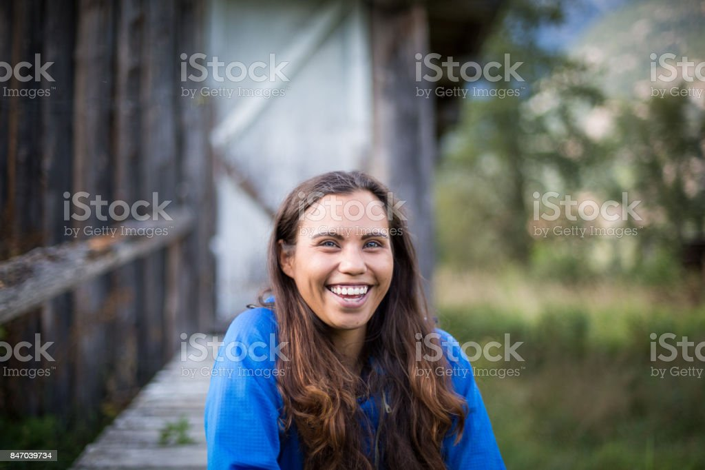Portrait of an Indigenous woman in Canada stock photo