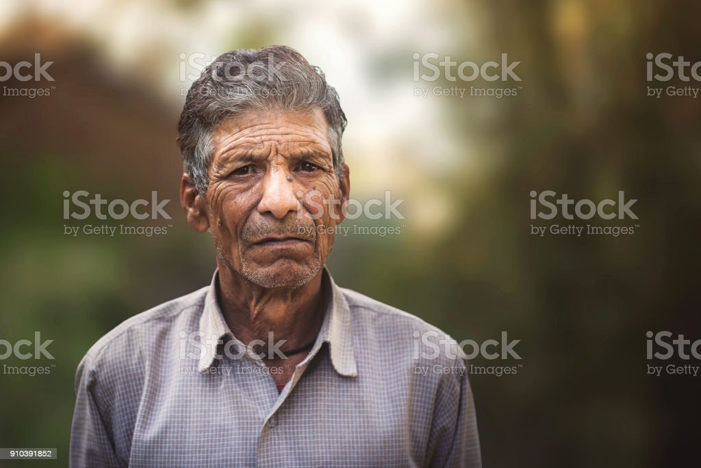 Portrait of an old Indian man. stock photo