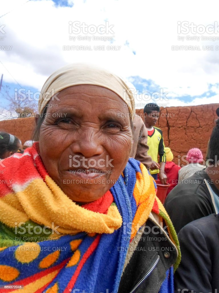 A portrait of an old malagasy woman smiling stock photo