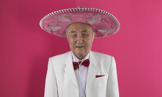 portrait of an old man in somrero