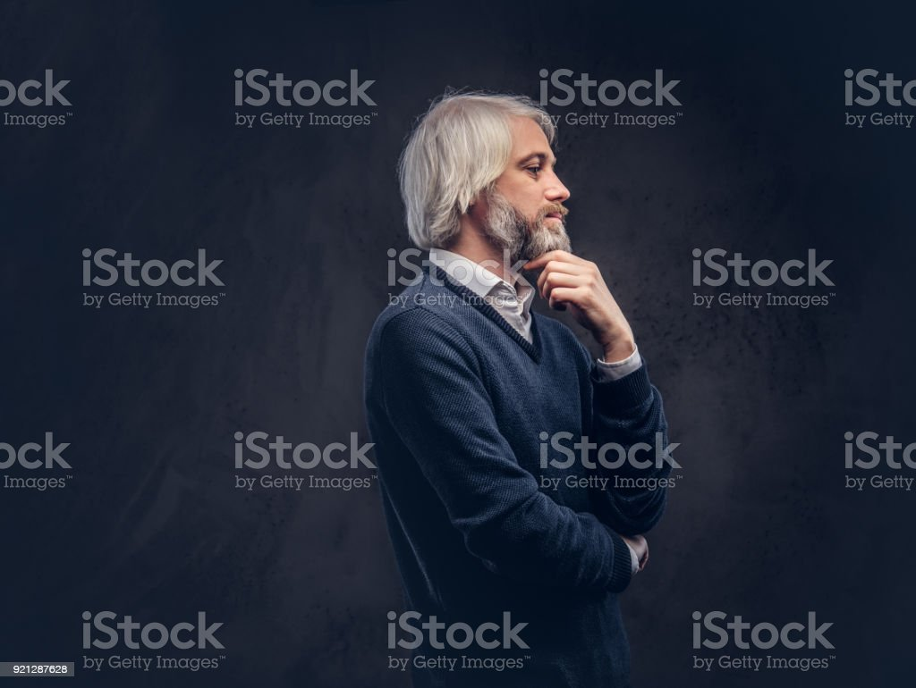 Portrait of an old man with a gray beard. stock photo