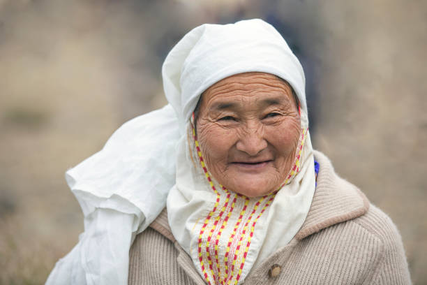 portrait of an old Mongolian woman stock photo