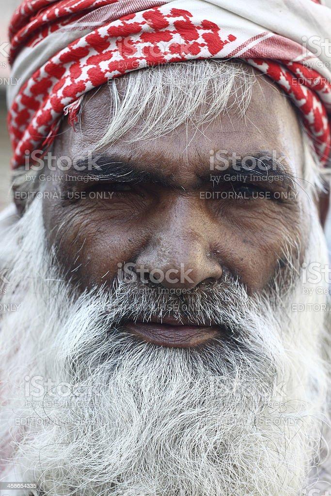 Portrait of an old Pakistani citizen stock photo