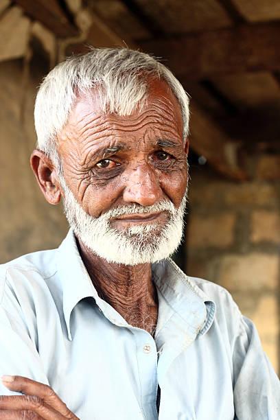 Portrait of an old Pakistani man stock photo