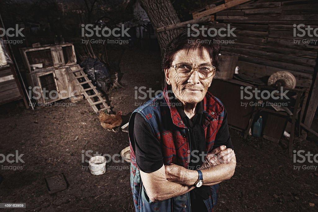 Portrait d'une vieille femme paysanne - Photo