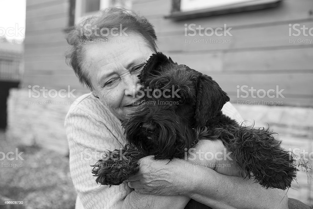 Portrait of an old woman holding black dog stock photo