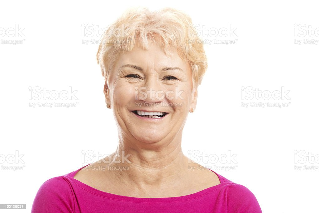 Porträt von die alte Frau im Rosa Hemd. - Lizenzfrei Aktiver Senior Stock-Foto