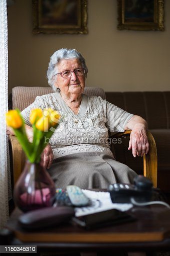Portrait of a old woman with gray hair. Grandma sitting in a chair in the nursing home.